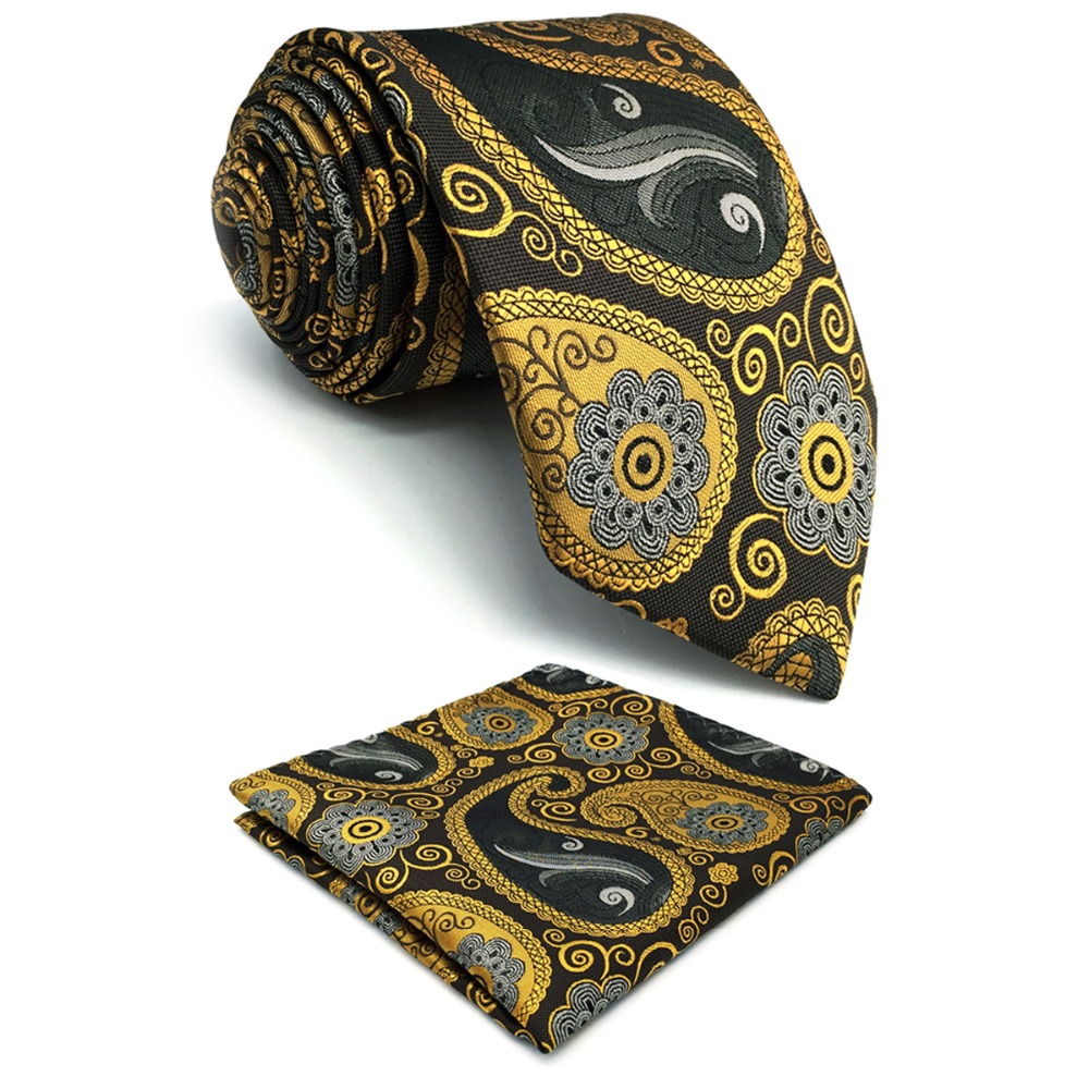 C1 Grey Gold Paisley Mens Necktie Set Fashion Classic Dress Silk extra long size Ties for emale Hanky 63
