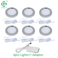 3W Under Cabinet Light Motion Sensor IR Silver Round LED Puck Lamps Kitchen Counter Bookshelf Soft Light Illuminate Lighting