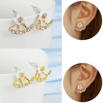 Crystal Flower Double Sided Gold Silver drop earrings For Women fashion Jewelry  1