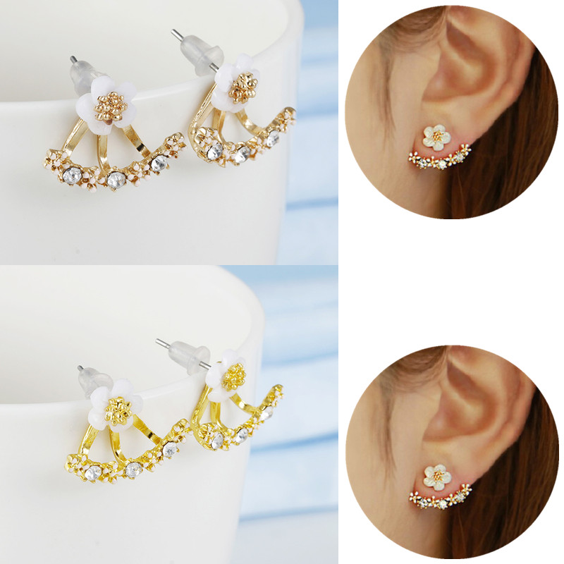 Crystal Flower drop Earrings For Women fashion Jewelry Double Sided Gold Silver earrings gift for party
