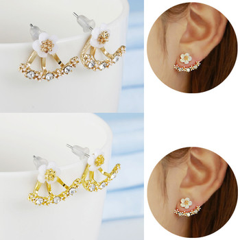 Crystal Flower drop Earrings For Women fashion Jewelry Double Sided Gold Silver earrings gift for party best friend A55 1