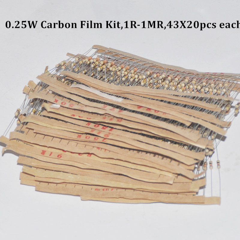 860pcs <font><b>Resistor</b></font> Kit 0.25W Watt 43values X 20pcs Resistencias <font><b>Resistor</b></font> Pack Carbon Film Resistance 1-<font><b>1MOhm</b></font> OHMs 1/4W Carbon Film image