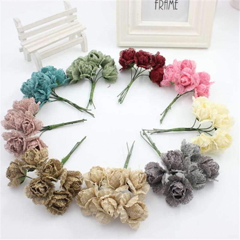 DIY bahan rami alami kain imitasi bunga alat peraga karangan bunga hiasan  kepala pengantin bunga rose 6 PCS di Buatan   Bunga Kering dari Rumah    Taman ... 9ed7dba770