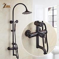 ZGRK Shower Set Faucets Shower Head Bathroom Mixer Taps Top Spray Rainfall Washing Faucet Antique Shower System