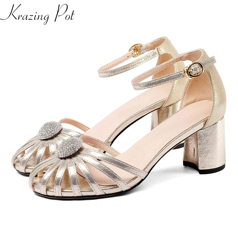 Krazing pot new sheep leather high heels pumps round toe buckle strap women hollow diamond sexy wedding brand leather shoes L6f1 krazing pot 2018 cow leather simple design breathable high heels hollow women pumps round toe brown white color brand shoes l92