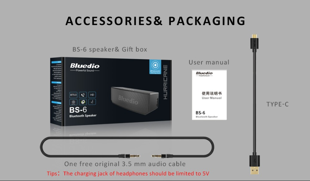 Bluedio BS-6 Mini Portable Bluetooth Speaker For Phones With Mic And Voice Control 12