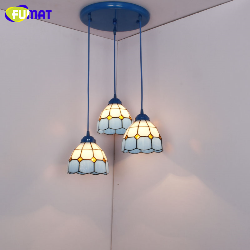 FUMAT Modern Blue Shade Pendant Light Tiffany Glass Light For Living Room Corridor Home Deco Stained Glass LED Pendant Lamps fumat stained glass pendant lamps european style glass lamp for living room dining room baroque glass art pendant lights led