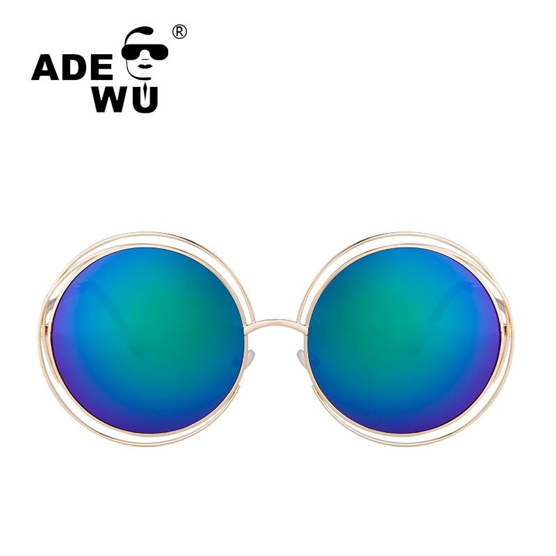 ADE WU High Quality Sunglasses Women Famous Round Vintage Retro Sunglasses Women Oversize Mirror Sun Glasses gafas de sol mujer
