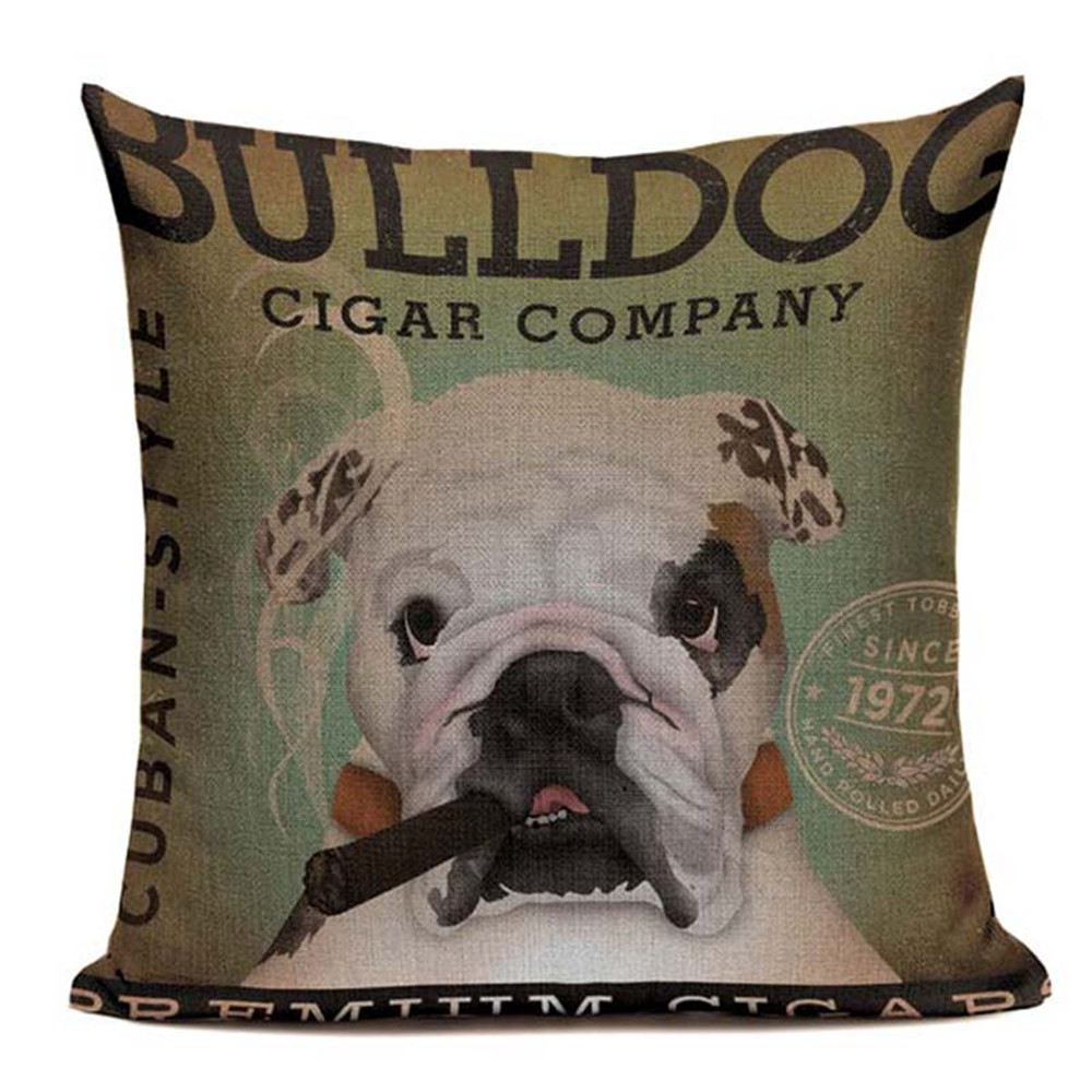 Lovely Linen Cotton Retro Pet Dog Bulldog Papillon Case Cover 45Cmx45Cm Square Lumbar Support Printed Cushion Covering