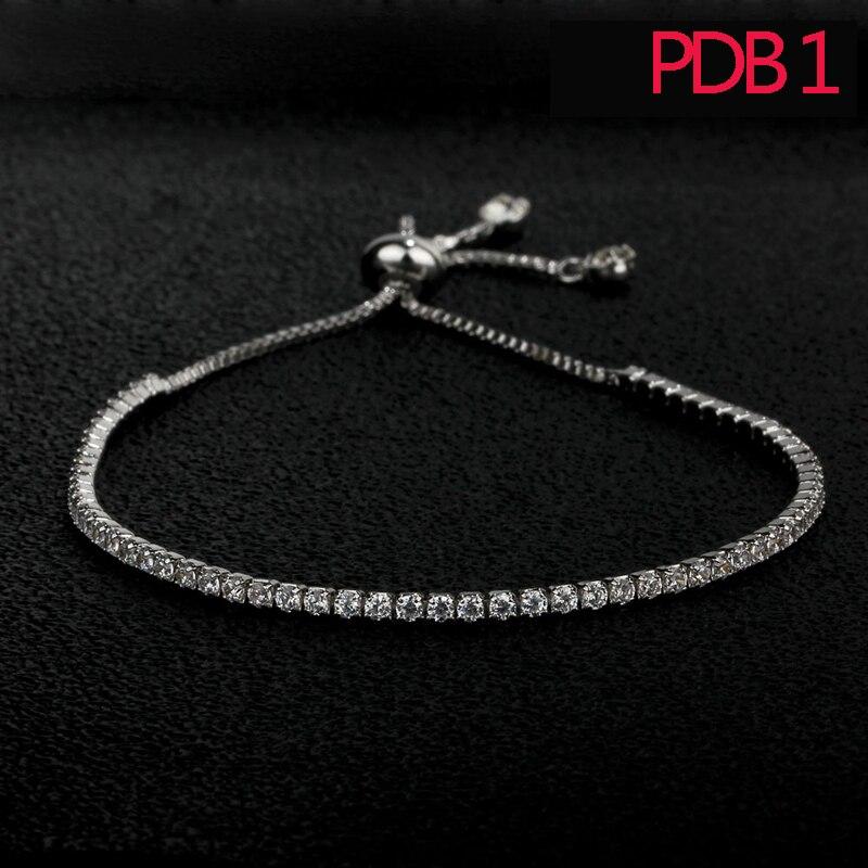 Donne di modo PDB1 regolazione braccialetto in argento sterling bracciale con bianco e rosa pietra per il regalo