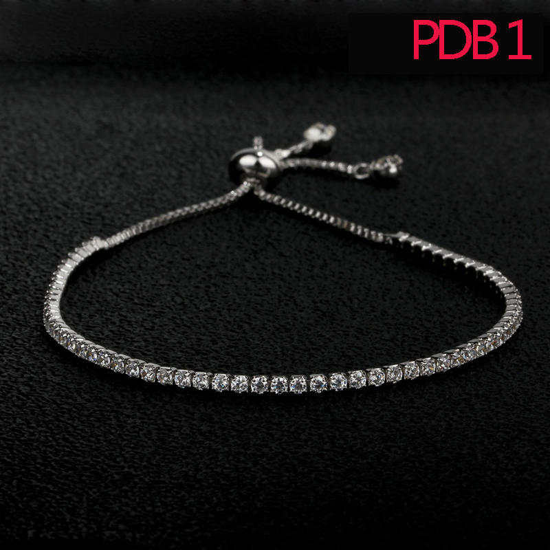 PDB1 fashion women bracelet sterling silver adjustment bracelet with white and pink stone for gift