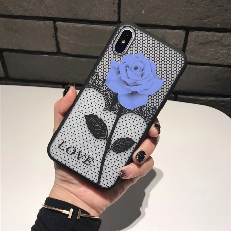 Tfshining Luxury Phone Cases For iPhone X XS 6 6s 7 7 8 Plus Cute Rose Flowers Matte Cover Case For iPhone 8 7 6 s Plus carcasa in Fitted Cases from Cellphones Telecommunications
