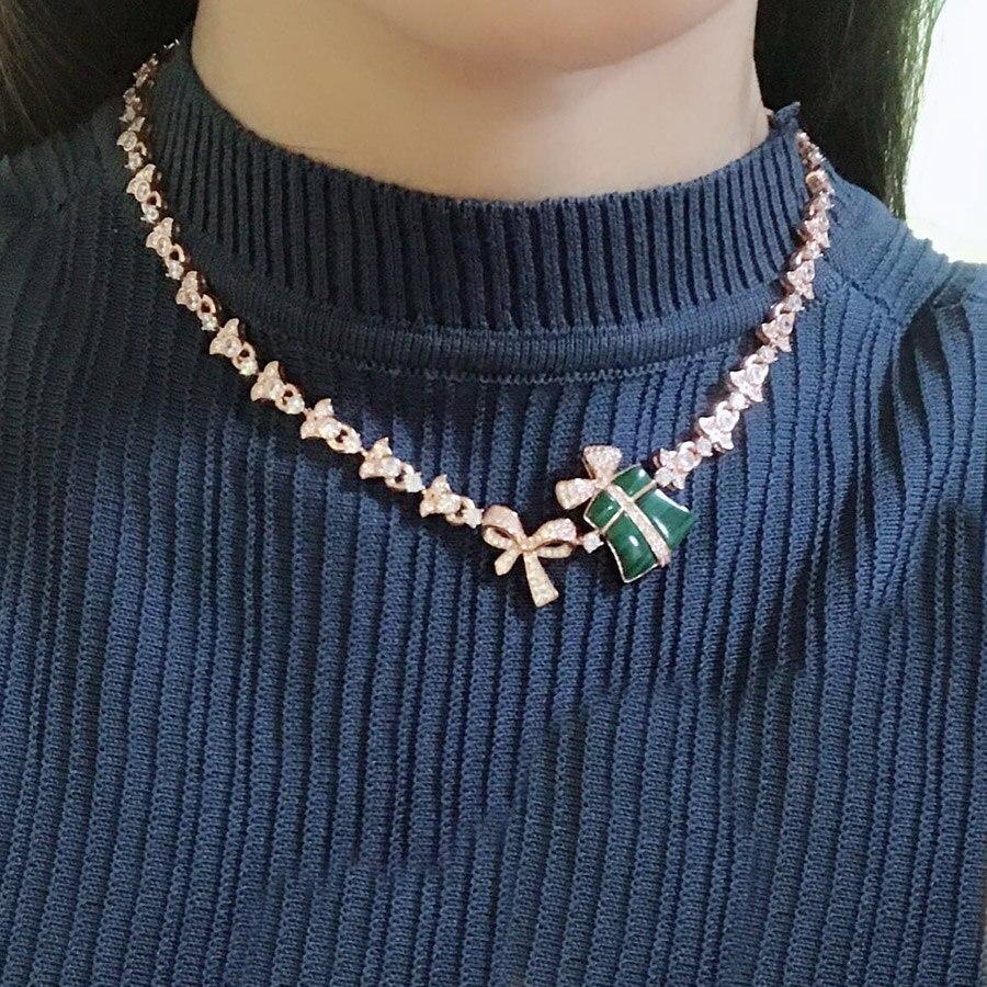 Marque de luxe haute couture vert Malachite cadeau boîte forme pendentif collier or Rose pour les femmes Dubai charmes bijoux en pierre naturelle-in Pendentifs de collier from Bijoux et Accessoires    1