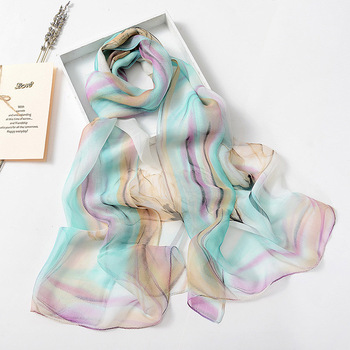 Colorful Flower Printing Silk Scarf Summer Spring Women's Scarves Thin Chiffon Hijab Fashion Tulip Floral Shawl Georgette - discount item  30% OFF Scarves & Wraps