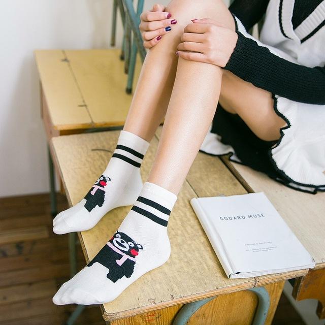 1 pair/lot Women Socks Cartoon Kumamon Animals Patterns Socks For Women Autumn Spring Cute Bear White Cotton Socks
