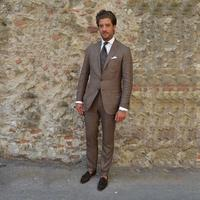 2018 custom made men suits brown suits for male tailor made for business meeting wedding smart casual tuxedos costume 2 pieces