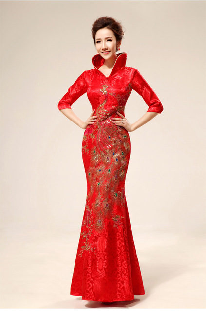 Free Shipping Stand Collar Formal Dress Chinese Knot Red Phoenix Embroidery Wedding Dinner Cheongsam