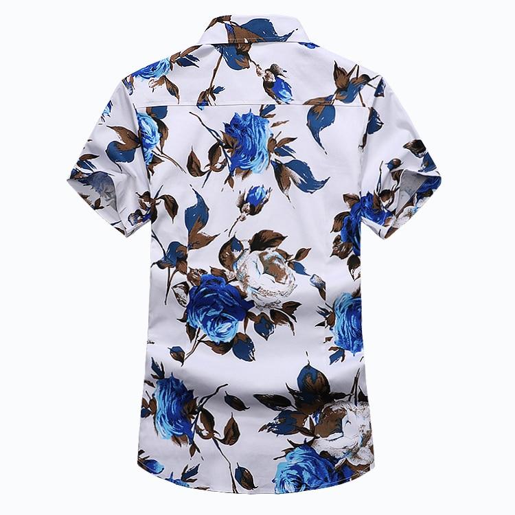 ZhenZhou 2018 Yaz Kısa Kollu Erkek Gömlek Çiçek Erkek Giysileri - Erkek Giyim - Fotoğraf 2
