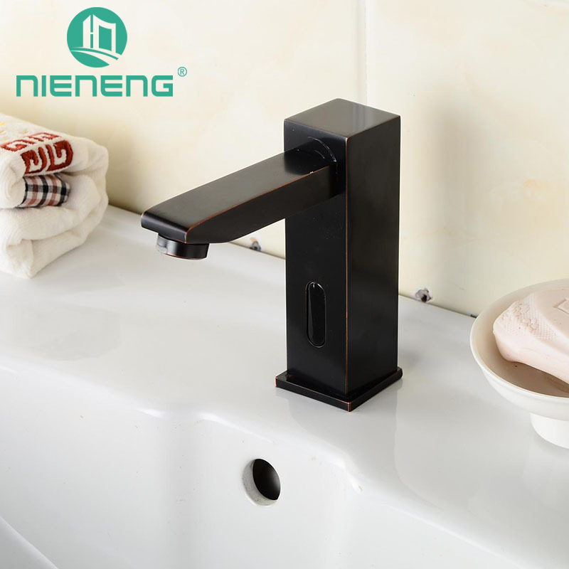 NIENENG sensor faucets black bathroom sink faucet cold water basin mixer restaurant tap automatic hospital taps fitment ICD60245