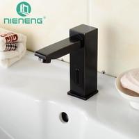 NIENENG sensor faucets black bathroom sink faucet cold water basin mixer restaurant tap automatic hospital taps fitment ICD60245