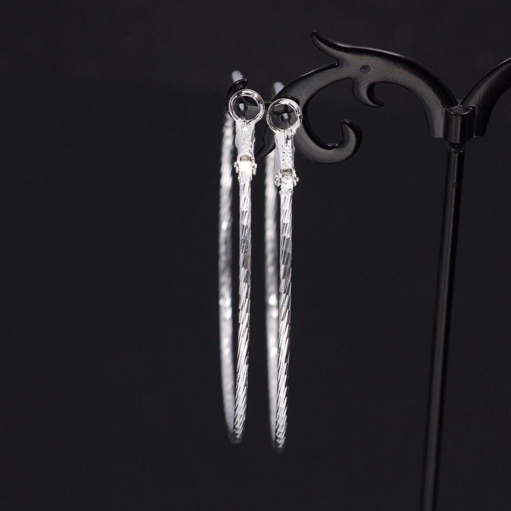 6cm with 925 logo Silver Basketball Wives Hoop Earrings For Women