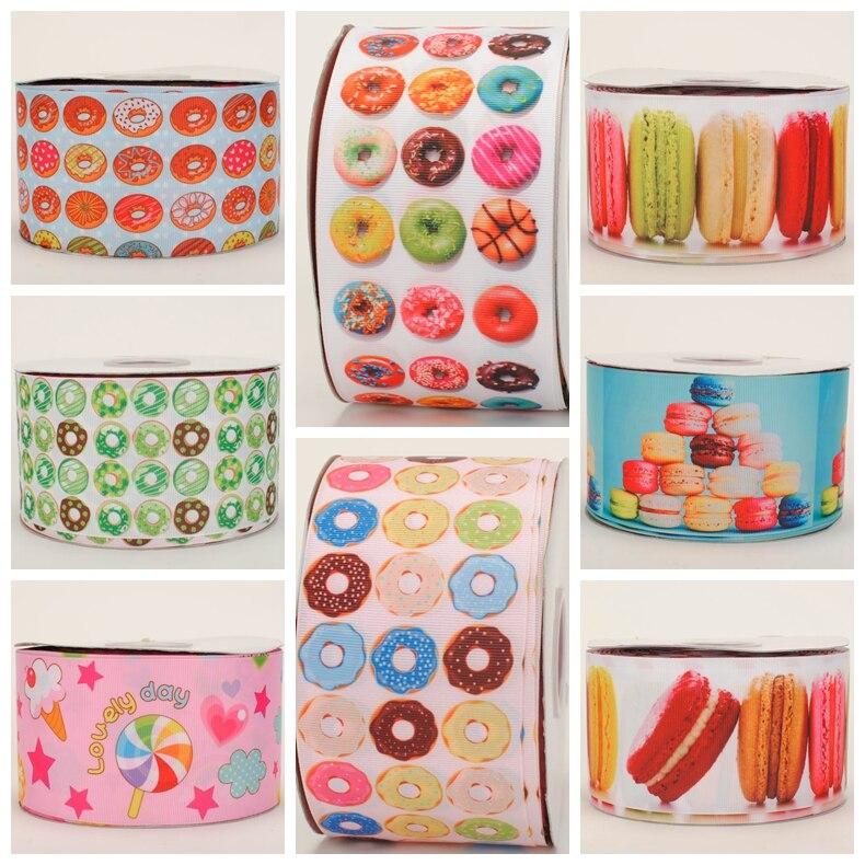 NEW sales 50Y 3 75mm sweet Doughnut Macaroon bows printed grosgrain ribbon free shipping