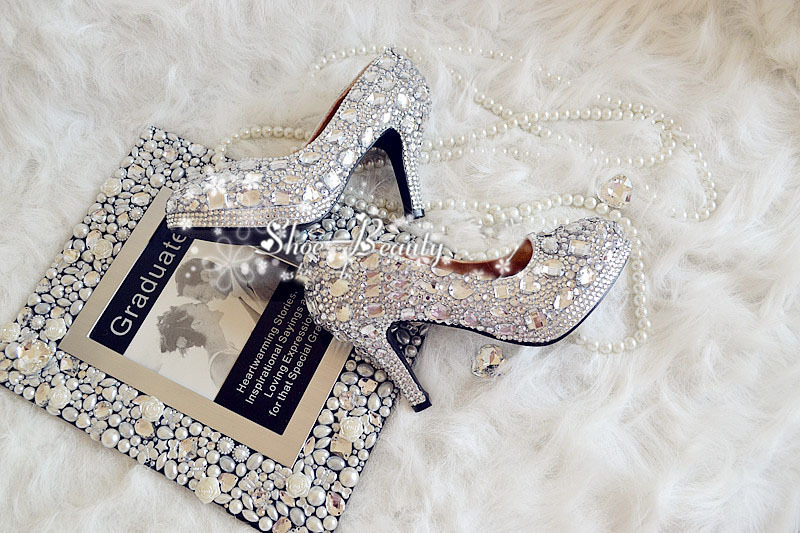 Handmade Lady Bridal Shoes Wedding Dress Shoes Diamond Woman Spring Evening Prom Party Dress Shoes Dazzing 9cm high Heel shoes beautiful fashion blue wedding shoes for woman rhinestone bridal dress shoes lady high heel luxurious party prom shoes