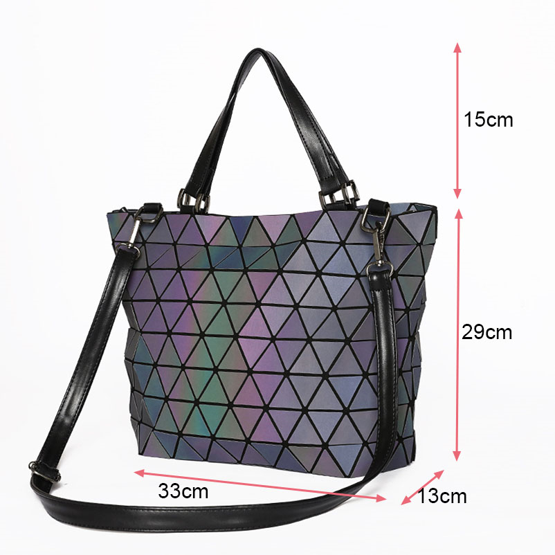 Nevenka Women Luminous Handbag Leather Shoulder Bag Women Geometric Handbags 2018 Large Tote Bag for Women Leather Crossbody Bag18