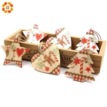 Hot!9PCS/Lot Christmas Wooden Pendants Ornaments  DIY Wood Crafts Tree for Party Decorations Gifts