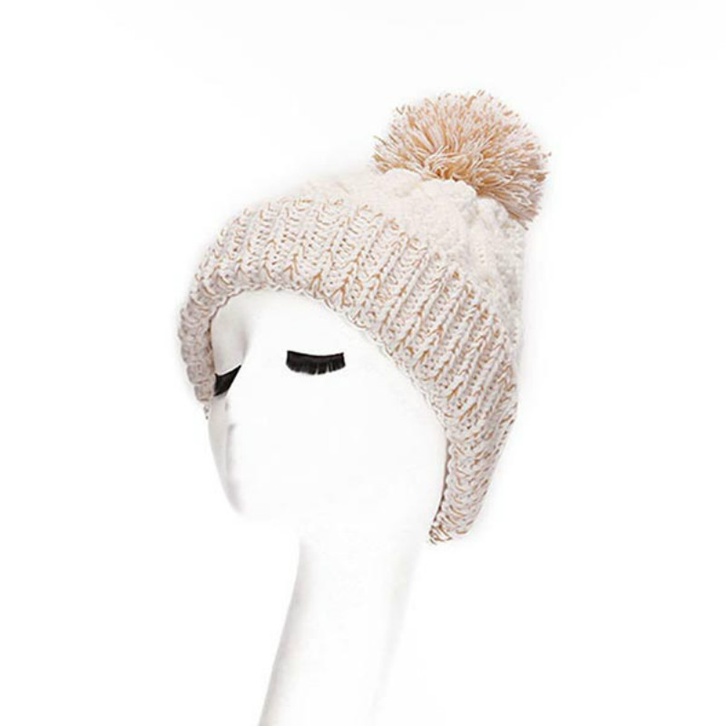 Skullies - New Arrival Warm Winter Female Knitted Hat Hedging Interior Plus Fluff Lines Thick Line Twist Cap Cute Hat #1866934 skullies