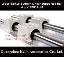 Лучшая цена! 2 шт. SBR16 500 мм линейных направляющих поддерживаемые рельсы 4 шт. SBR16UU подшипников блоков, Sbr16 длина 500 мм для чпу частей
