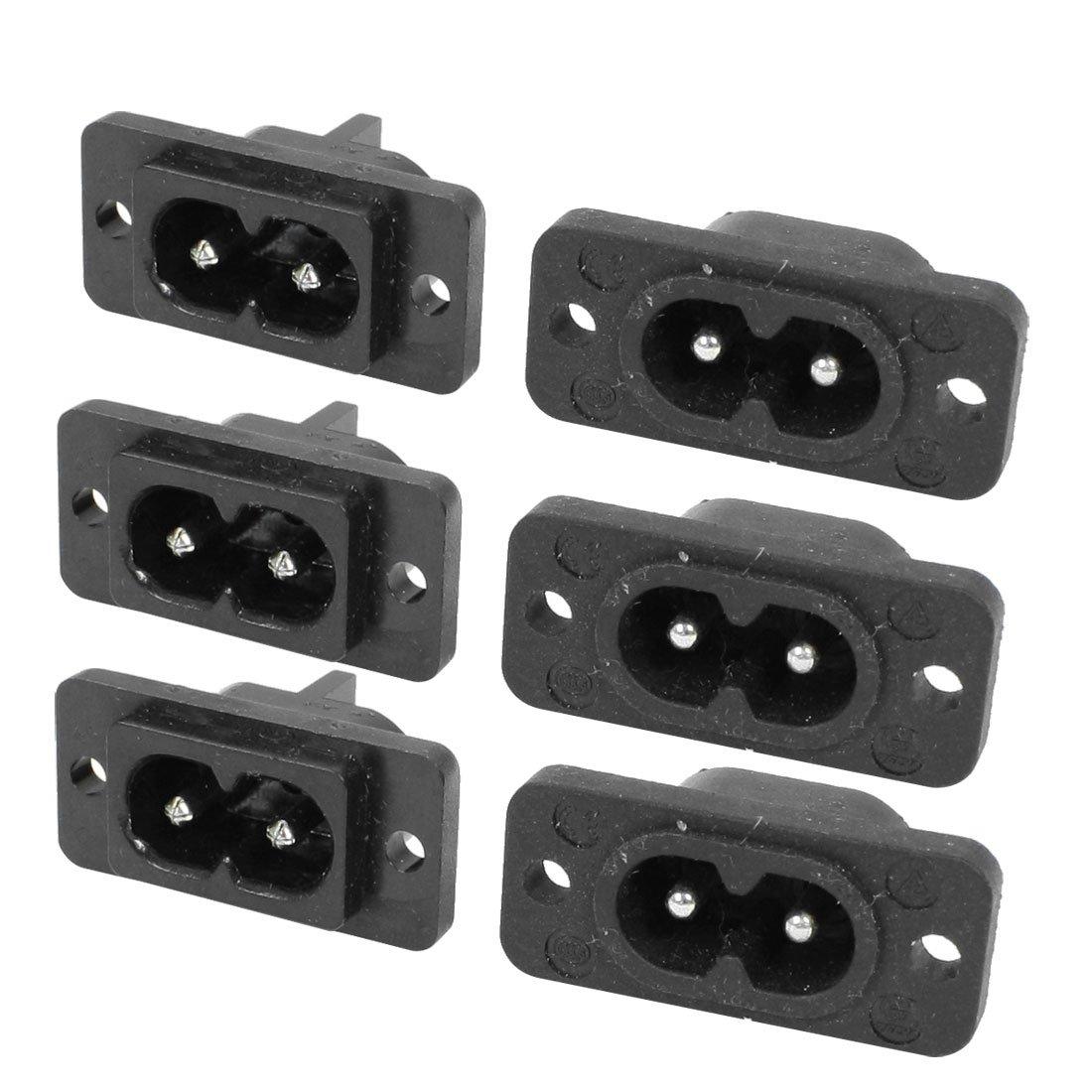 Black 2 Pin IEC320 C8 Screw Mount Inlet Plug Socket AC 250V 2.5A 6 Pcs