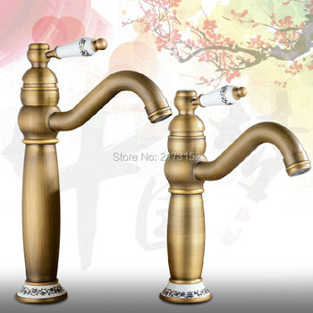 Free Shipping Tall Antique Brass Bathroom Faucet Ceramic Handle Ceramic Holder Long Mouth Brass Basin Sink Mixer Tap A-039