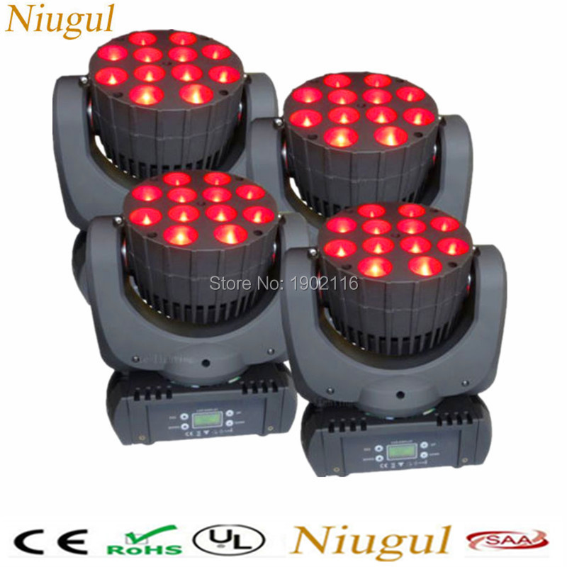 4PCS/LOT LED beam Light 12X12W RGBW 4in1 Moving Head Spot Beam DMX512 DJ Lighting for Shows Wedding Home Garden Party Club Bars niugul dmx stage light mini 10w led spot moving head light led patterns lamp dj disco lighting 10w led gobo lights chandelier