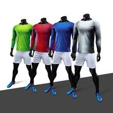 Fútbol uniforme manga larga transpirable hombres jóvenes Camisetas de Soccer  kit personalizado vigilancia fútbol 2018 traje 5f147ffd85ff1