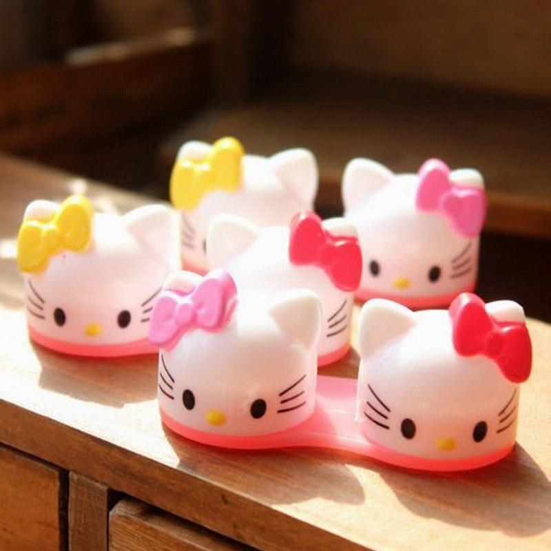 New 3D Hello Kitty Cartoon Contact  Lenses Box Funny Eyewear Cases