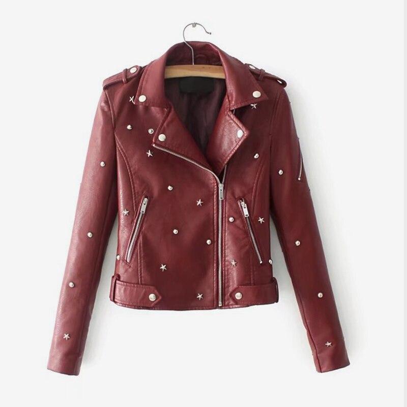 Femmes Faux cuir étoile Rivet à manches longues Biker veste manteau noir fermetures à glissière mode Kpop femme Outwear automne femme vêtements