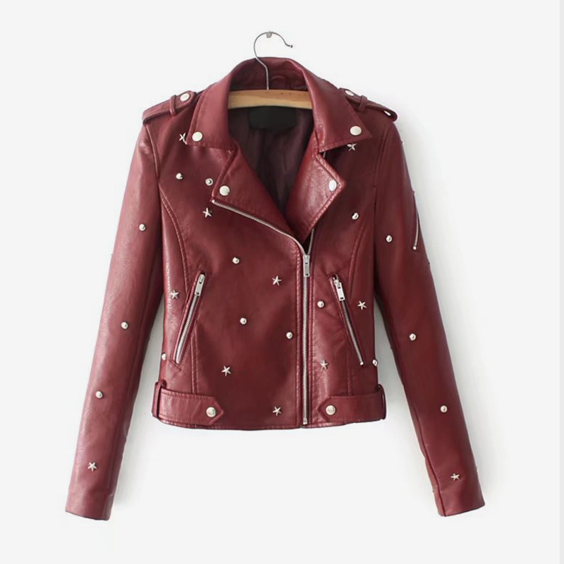 Women Faux Leather Star Rivet Long Sleeve Biker Jacket Coat Black Zippers Fashion Kpop Woman's Outwear Autumn Female Clothing