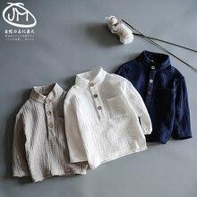 Детская весенне-осенняя блузка рубашка для мальчиков в стиле ретро мягкая футболка с воротником-стойкой Детская рубашка с деревянными пуговицами