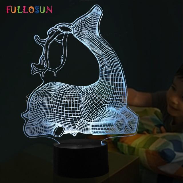Creative Gift Cartoon Deer 3D Decorative Lamp Kids Room USB Lights 7 Colors  LED Nightlights For