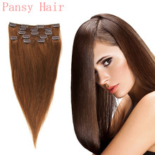 Remy Human Virgin Hair Straight Hairpieces Wigs Clip in Human Hair Extensions Full Head 15inch 18inch 20in 22in 6# Medium Brown
