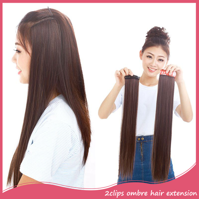 Synthetic Clip In Ombre Hair Extension 20inch Long Straight Black