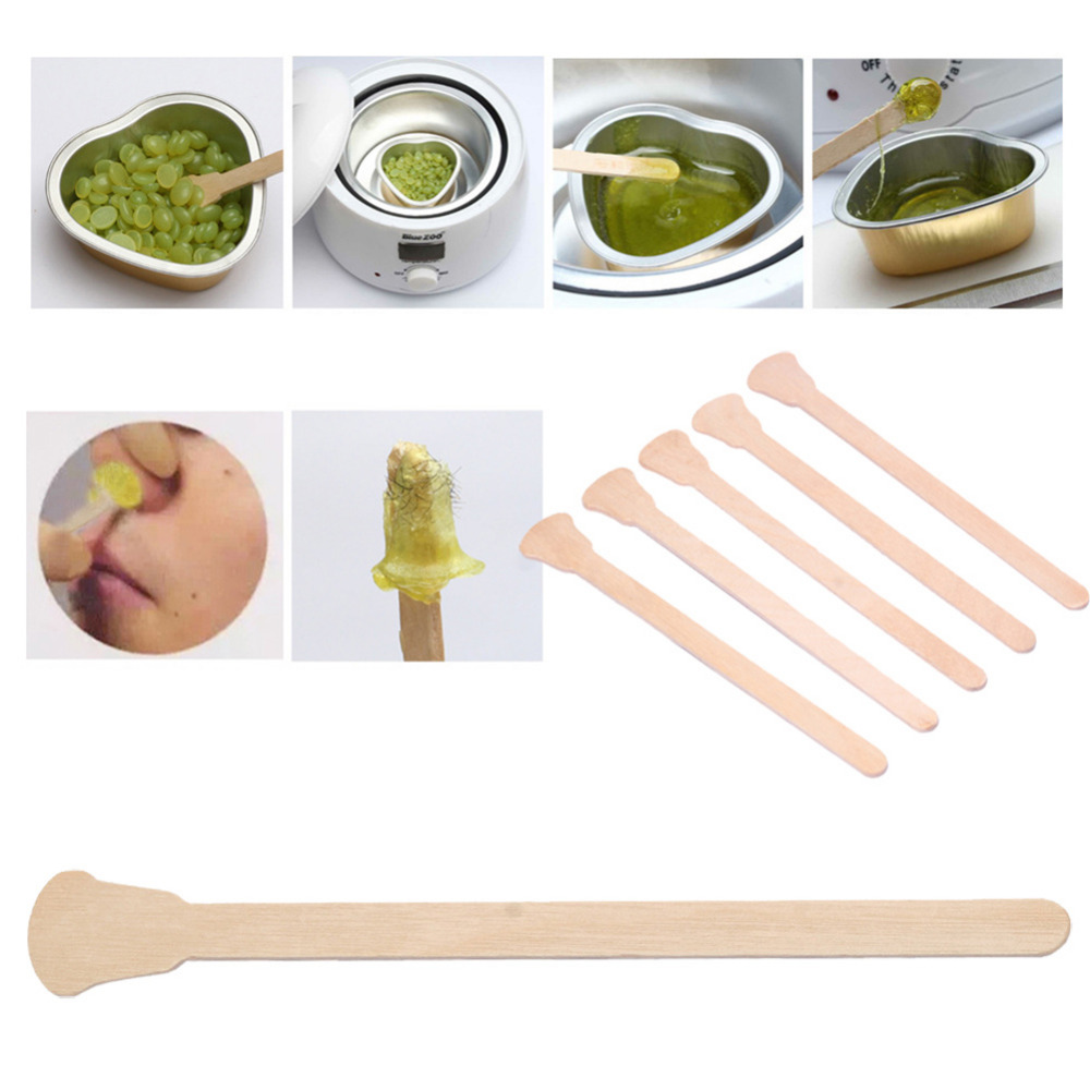50 Pcs Wooden Waxing Wax Spatula Tongue Disposable Bamboo Sticks Hair Removal Cream Stick For Waxing Body Hair Care Beauty Tools image