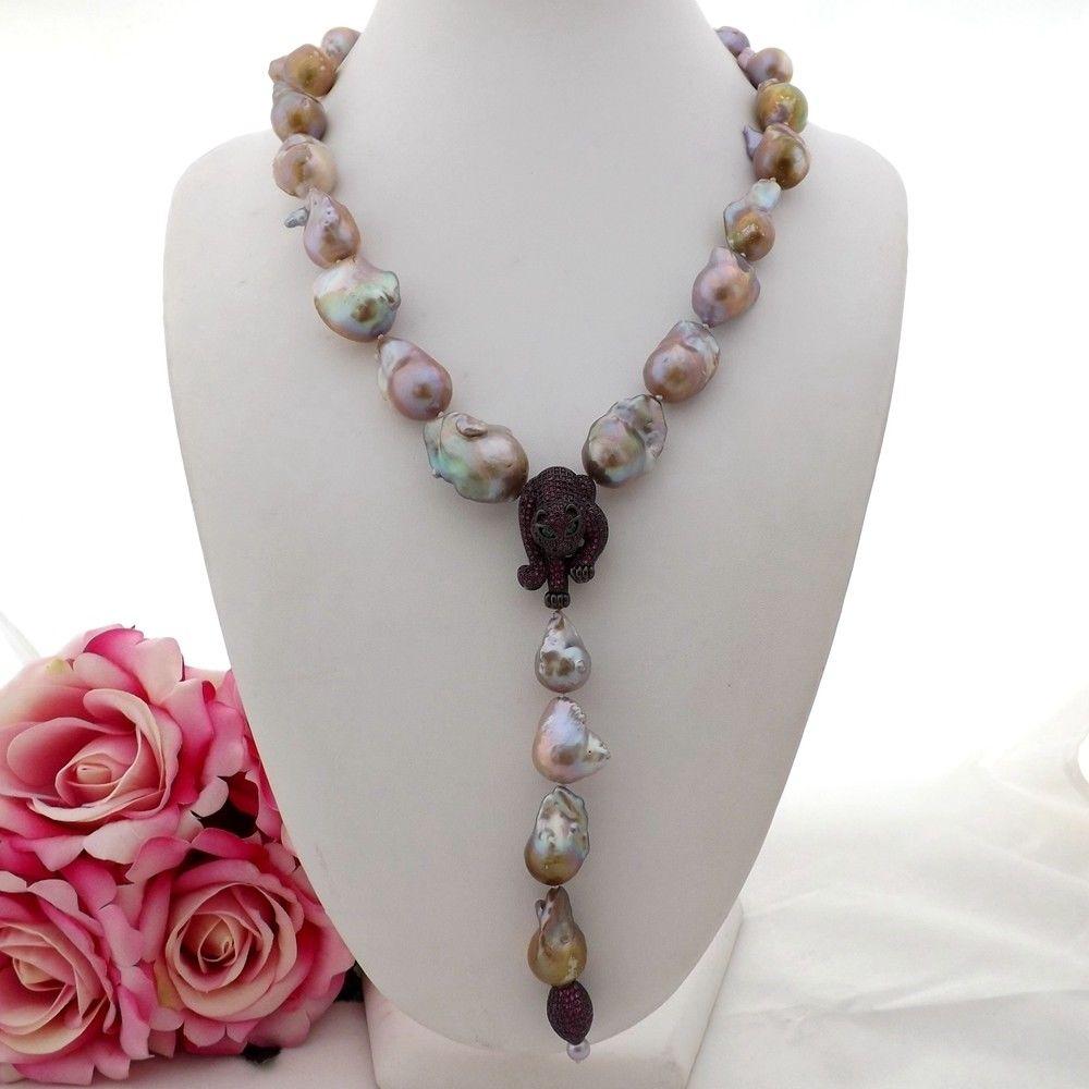 GE092404 21 violet Keshi collier de perles CZ pendentifGE092404 21 violet Keshi collier de perles CZ pendentif