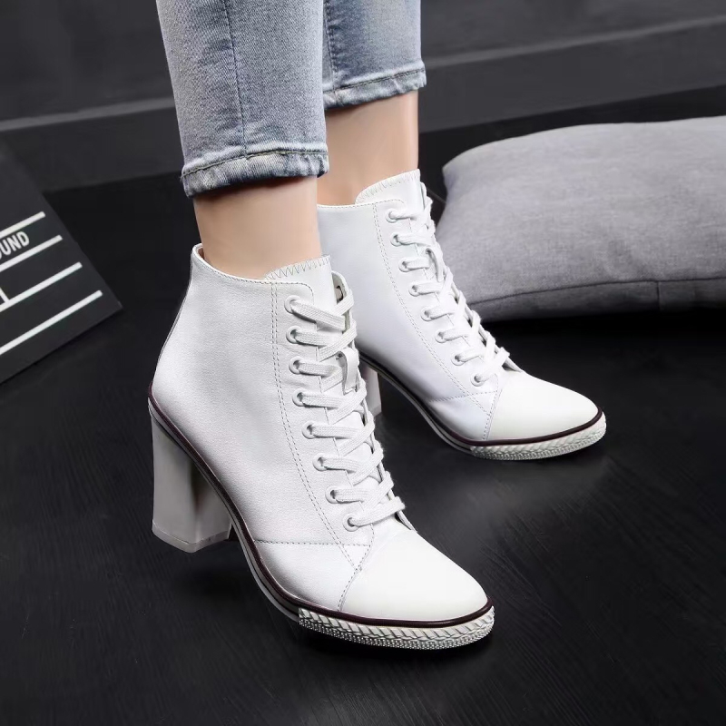 Spring/autumn Shoes 2017 New High Shoes Casual White Ankle Boots Chunky Coarse Boots Leather Elegant Lady Lace Up Shoe Women front lace up casual ankle boots autumn vintage brown new booties flat genuine leather suede shoes round toe fall female fashion