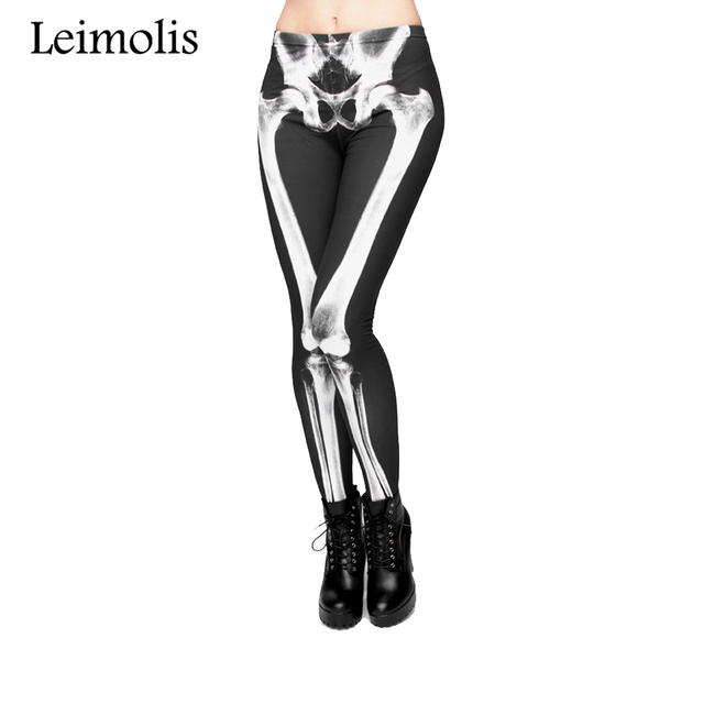 Leimolis 3D print retro bones black skeleton sexy women casual punk rock leggins High Waist fullprint pants Leggings