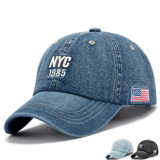 Nuevo 2017 verano para hombre sombrero y casquillo NYC carta Denim lavado  Cascos de deporte unisex 6c80ad063f8