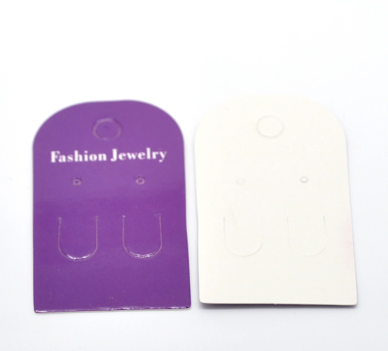 100Pcs Purple Paper Earrings Ear Studs Hanging Holder Display Hang Cards Jewelery Diy Finding Crafts 6x3.5cm(2 3/8x1 3/8)