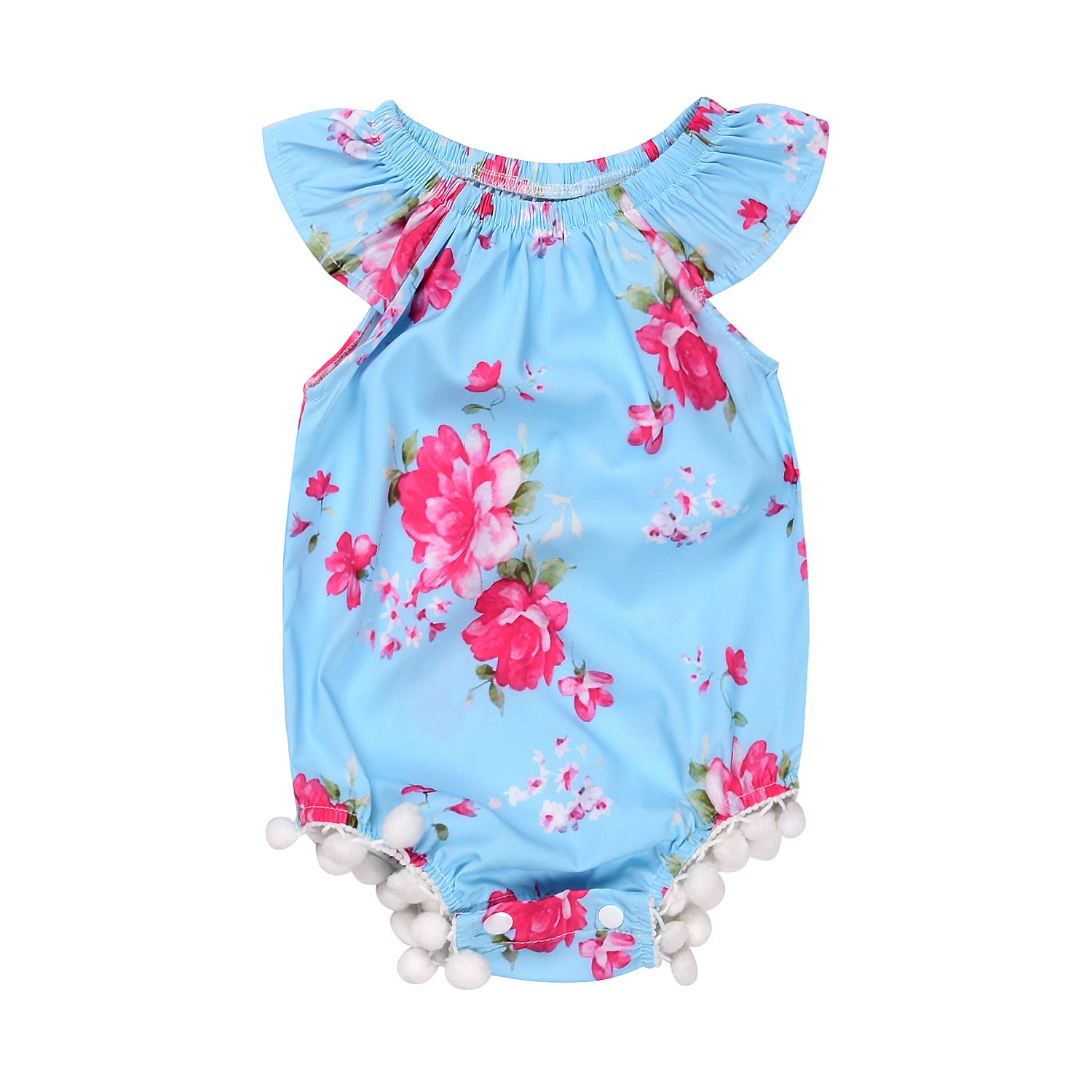 Summer Floral Baby Romper Sleeveless Ruffles Collar Newborn Clothes Infant Onepiece Baby Girls Clothing