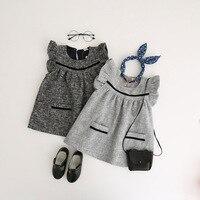 女の子と子供のドレス秋冬用女の子幼児女の子服子供服でポケット用3-8y